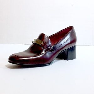Ralph Lauren red leather chunky heel loafers